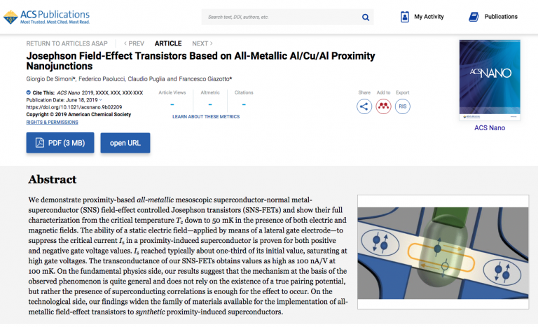 """Josephson Field-Effect Transistors Based on All-Metallic Al/Cu/Al Proximity Nanojunctions"" published on ACS Nano"