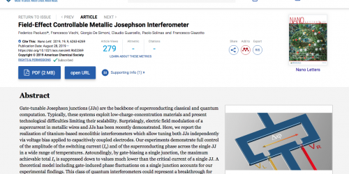 """Field-Effect Controllable Metallic Josephson Interferometer"" published on Nano Letters"