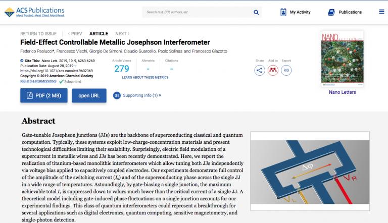 """Field-Effect Controllable Metallic Josephson Interferometer"" published on Nano Letters"