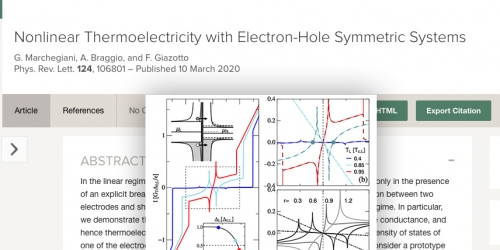 """Nonlinear thermoelectricity with electron-hole symmetric systems"" published on Physical Review Letters"