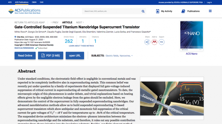 """Gate-Controlled Suspended Titanium Nanobridge Supercurrent Transistor"" published on ACS Nano"